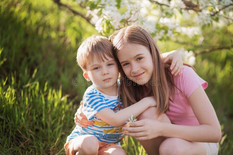 Ungar spelar i blommande trädgård arkivfoto