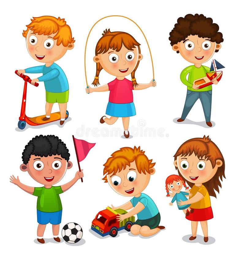 Ungar spelar med leksaker också vektor för coreldrawillustration vektor illustrationer