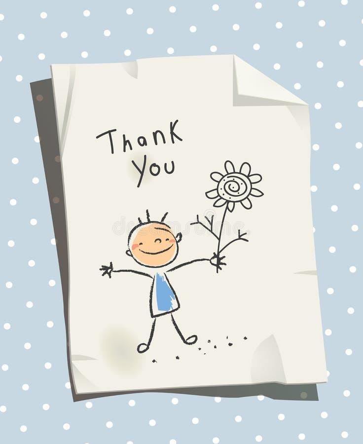 Ungar tackar dig för hjälp, förälskelsekort royaltyfri illustrationer
