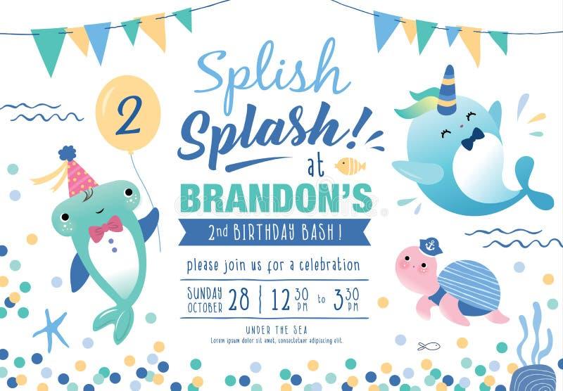 Ungar under kortet för inbjudan för havsfödelsedagparti stock illustrationer