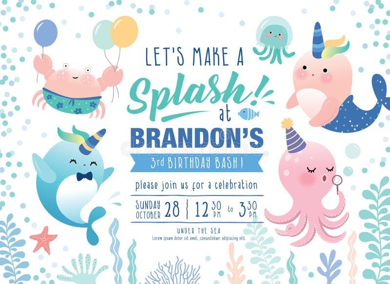Ungar under kortet för inbjudan för havsfödelsedagparti vektor illustrationer