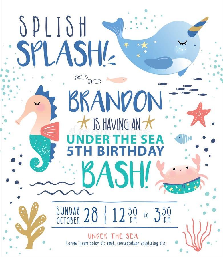 Ungar under kortet för inbjudan för havsfödelsedagparti royaltyfri illustrationer