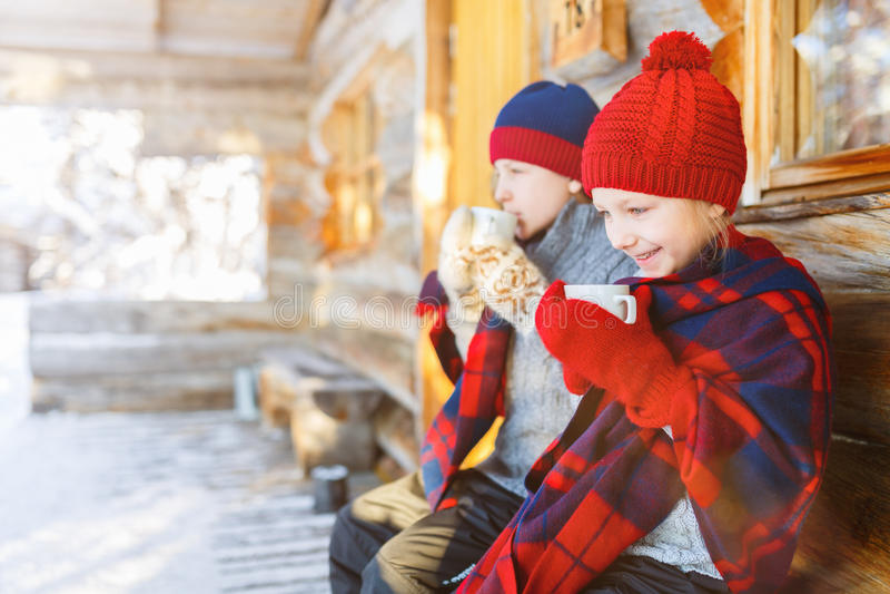 Ungar utomhus på vinter royaltyfri bild