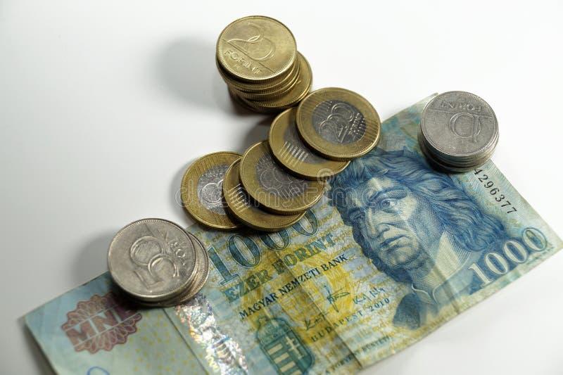 Ungarische Banknote und Münzen der verschiedenen Bezeichnung lizenzfreie stockfotografie