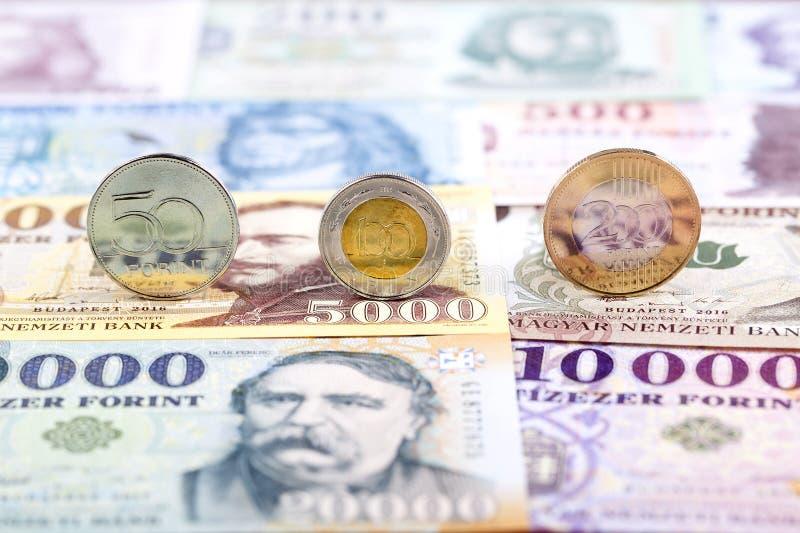 Ungarische Forintmünzen lizenzfreie stockbilder