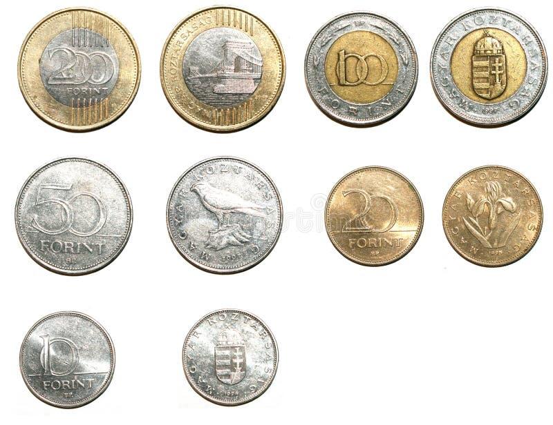 Ungarische Forintmünzen lizenzfreie stockfotos