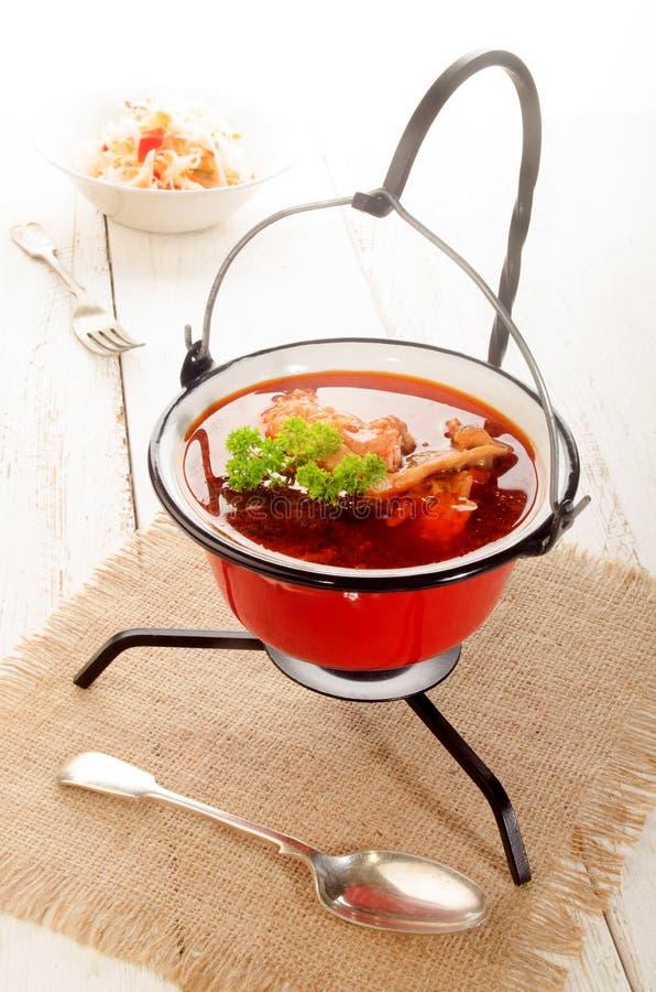 Ungarische Karpfensuppe in einem Kessel und in einem sauren Salat stockfoto