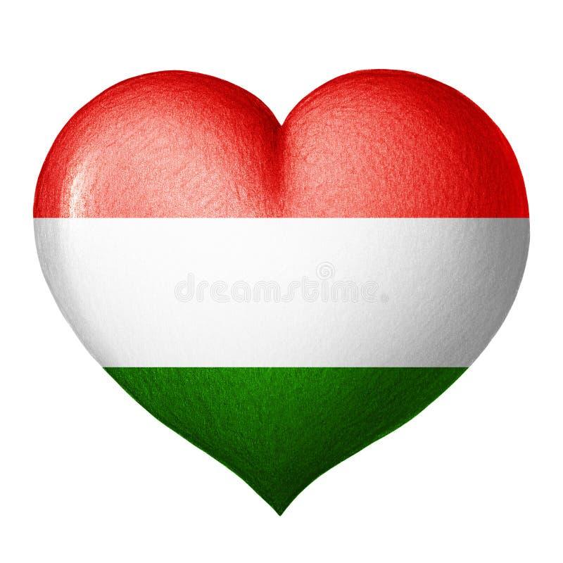 Ungarisches Flaggenherz lokalisiert auf weißem Hintergrund Zeichnung des Baums auf einem weißen Hintergrund stockbilder