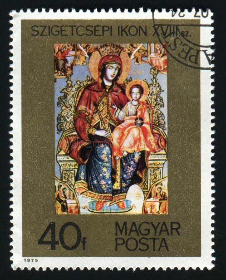 UNGARN - CIRCA 1975: Der Poststempel, der in UNGARN gedruckt wird, zeigt Szigetcsep-Ikone, circa 1975 stockfotografie