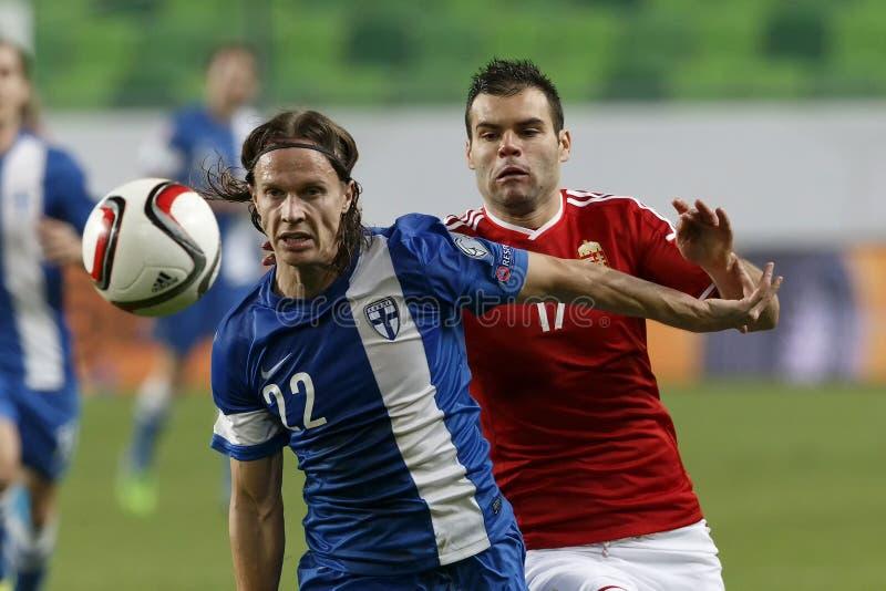 Ungarn gegen die Niederlande Fußballspiel 2016 der Finnland UEFA-Euronäheren bestimmung stockfotografie
