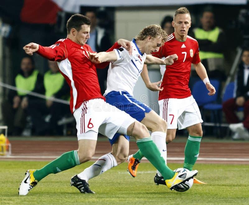 Ungarn gegen niederländisches Fußballspiel lizenzfreie stockbilder