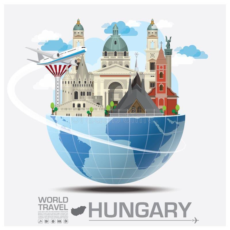 Ungarn-Markstein-globale Reise und Reise Infographic lizenzfreie abbildung