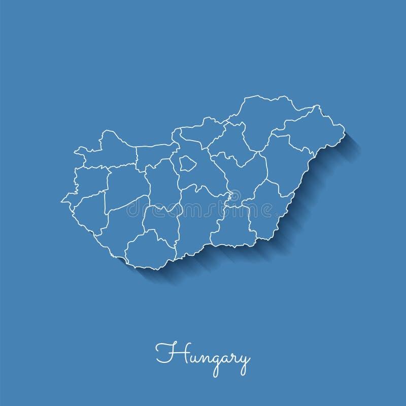 Ungarn-Regionskarte: Blau mit weißem Entwurf und lizenzfreie abbildung