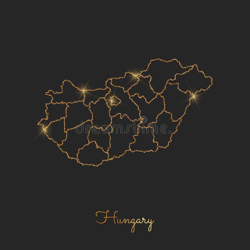 Ungarn-Regionskarte: goldener Funkelnentwurf mit stock abbildung