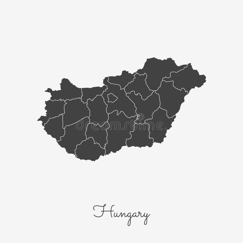 Ungarn-Regionskarte: grauer Entwurf auf Weiß lizenzfreie abbildung