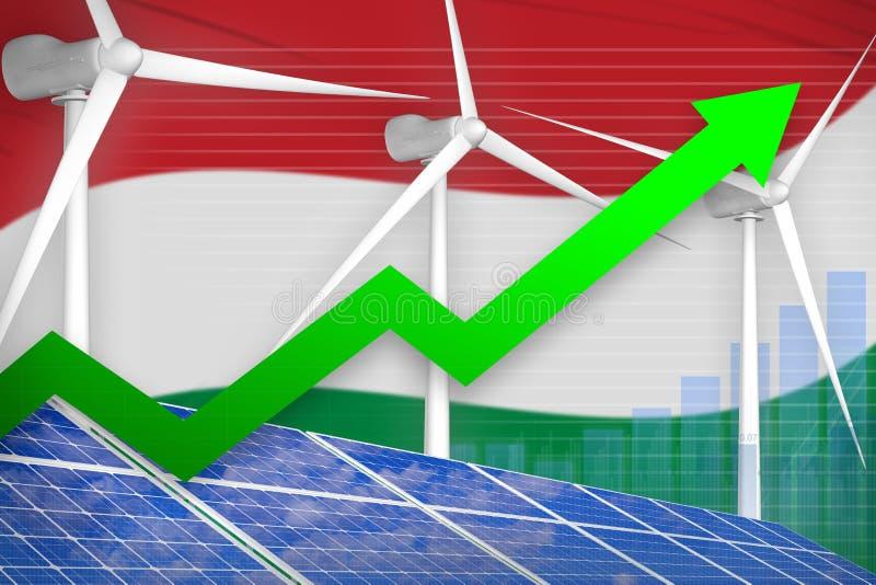 Ungarn Solar und steigendes Diagramm der Windenergie, Pfeil herauf - alternative industrielle Illustration der natürlichen Energi stock abbildung
