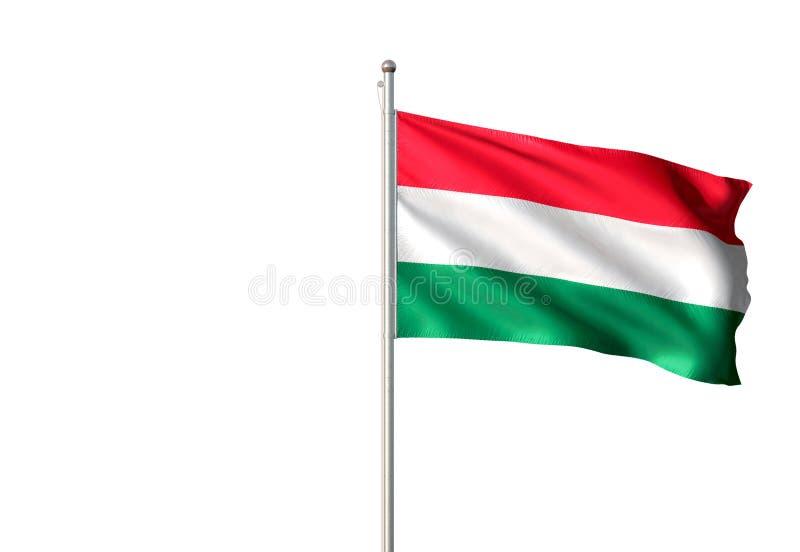 Ungarn-Staatsflagge, die lokalisierte realistische Illustration 3d des weißen Hintergrundes wellenartig bewegt lizenzfreie abbildung