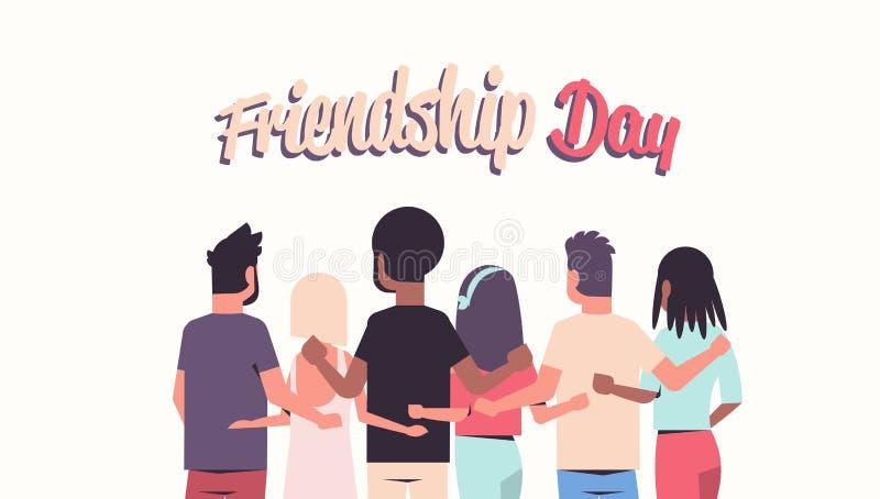 Ungdomargrupp som omfamnar mankvinnor för bakre sikt som kramar vänner för begrepp för kamratskapdagberöm som har rolig vit stock illustrationer