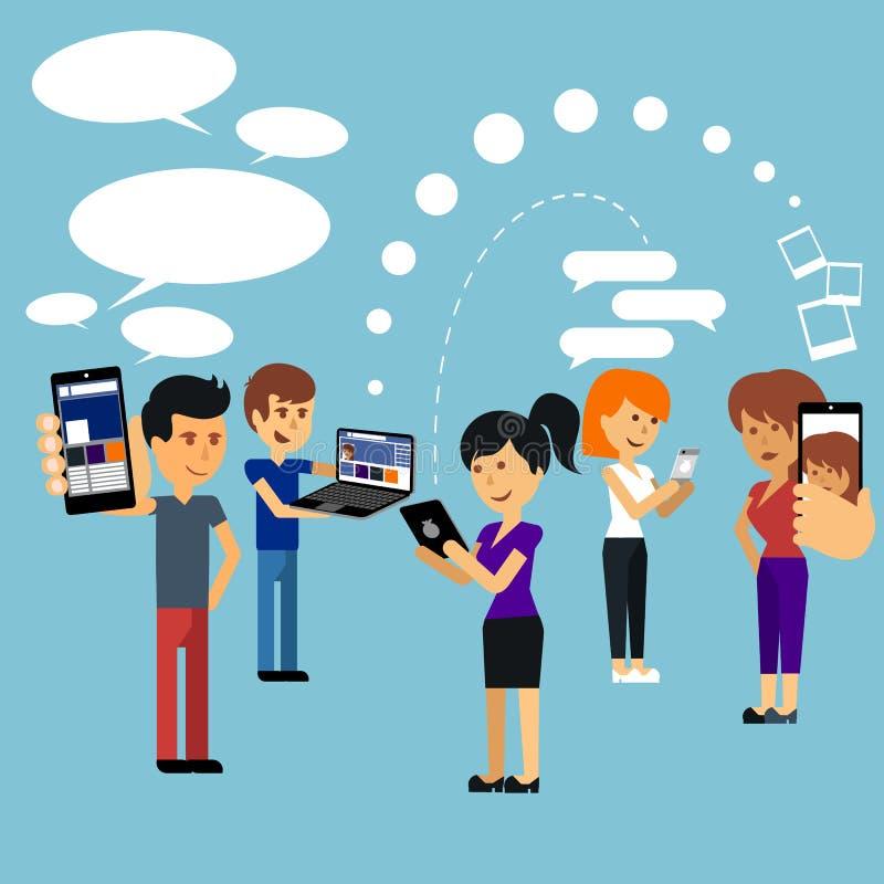 Ungdomarman och kvinna som använder teknologigrejen royaltyfri illustrationer