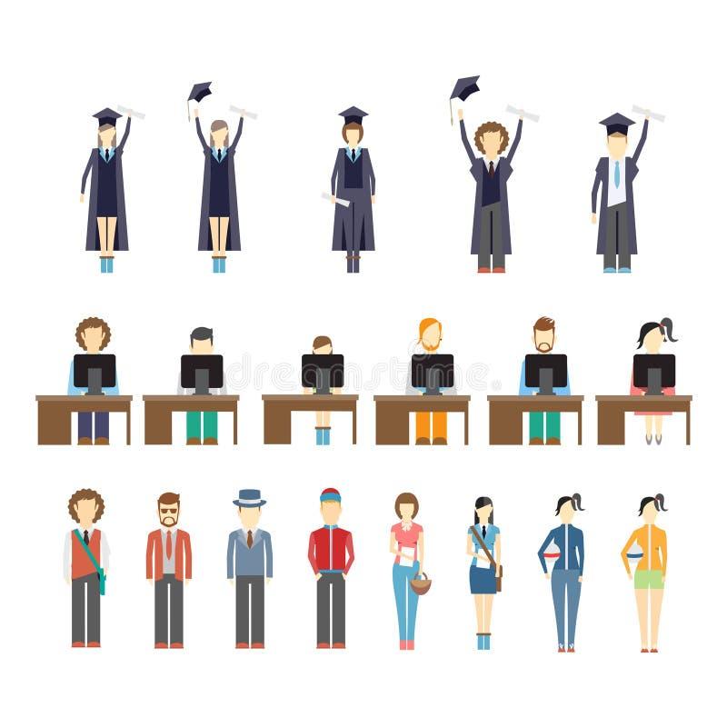 Ungdomaroch studenter royaltyfri illustrationer