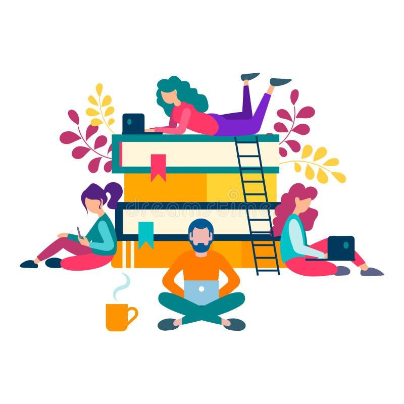 Ungdomarrunt om en bunt av böcker får online-educatio vektor illustrationer