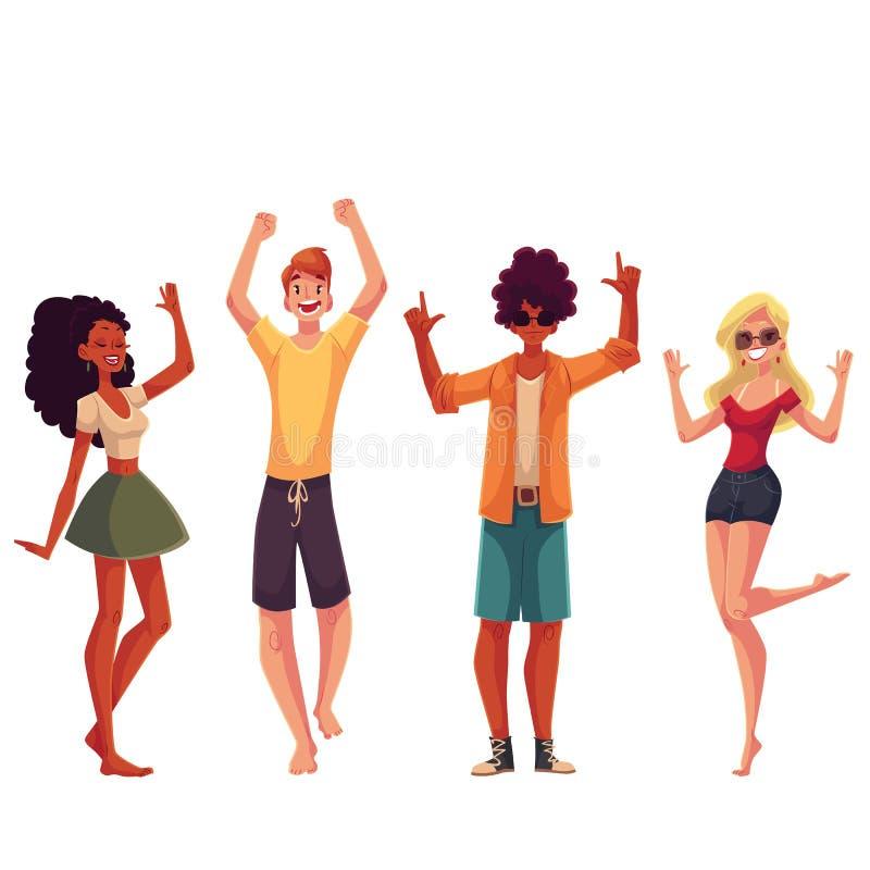 Ungdomarsom dansar på stranden stock illustrationer