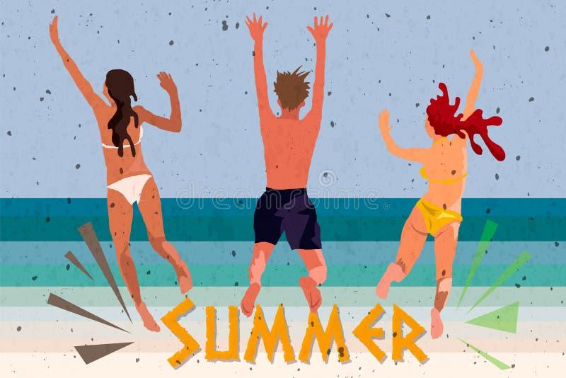 Ungdomarsom dansar på stranden i baddräkter, och kortslutningar, illustrationer för tecknad filmstilvektor som isoleras på vit ba vektor illustrationer