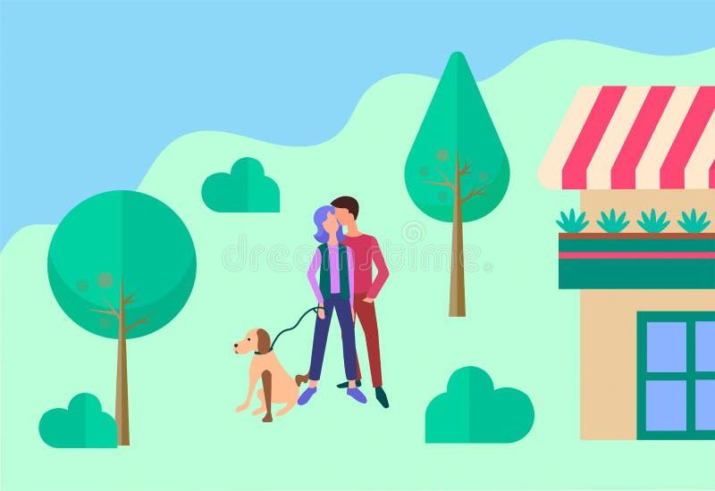 Ungdomarsom går deras hund och kramar nära huset stock illustrationer