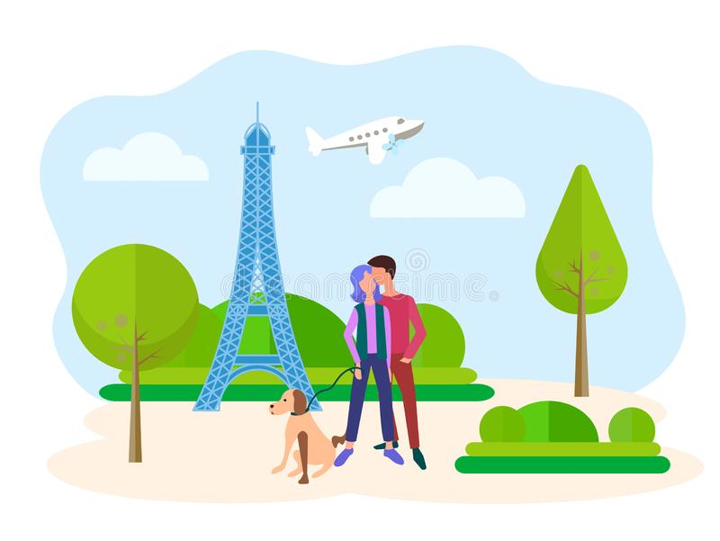 Ungdomarsom kramar mot bakgrunden av Eiffeltorn i Paris vektor illustrationer