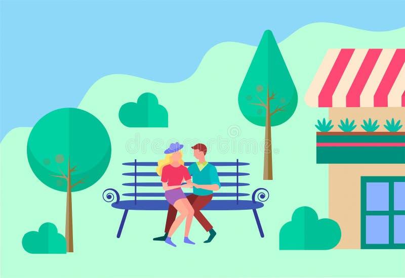 Ungdomarsom kramar på en bänk nära huset stock illustrationer