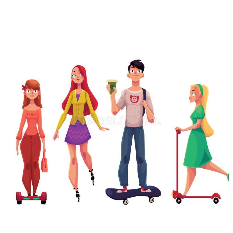 Ungdomarsom rider sparkcykeln, gyroscooter, skateboard, rullskridskor, stads- trans. stock illustrationer
