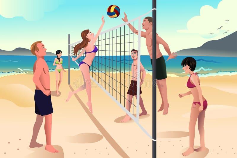Ungdomarsom spelar strandvolleyboll vektor illustrationer