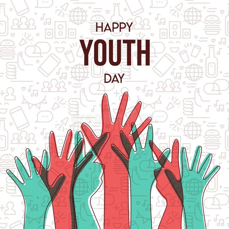 Ungdomdagkort av den tonåriga handgruppen för mångfald royaltyfri illustrationer