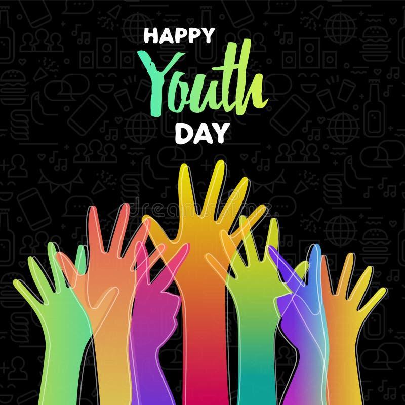 Ungdomdagkort av olika färgrika tonåriga händer royaltyfri illustrationer