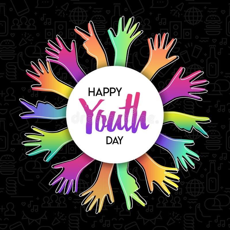 Ungdomdagkort av olika färgrika tonåriga händer vektor illustrationer