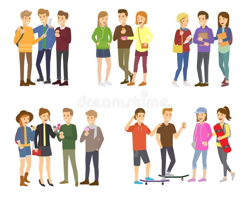 Ungdomsgruppen av tonåringvektorn grupperade tonårtecken av flickor eller pojkar tillsammans och ung studentgemenskap royaltyfri illustrationer