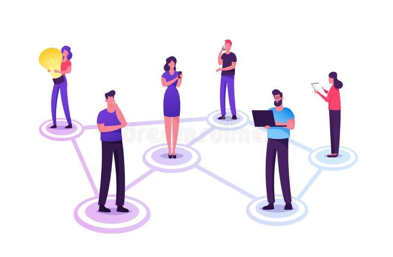 Ungdomstecken som chattar i sociala nätverk Män och kvinnor som kommunicerar online med en bärbar dator med mobila enheter stock illustrationer