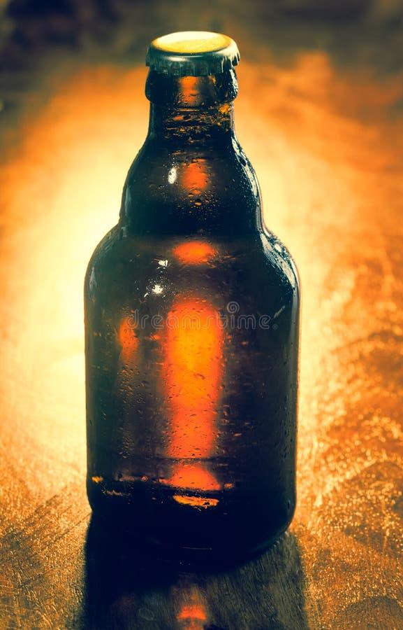 Ungeöffnete unbeschriftete Flasche Bier stockbild