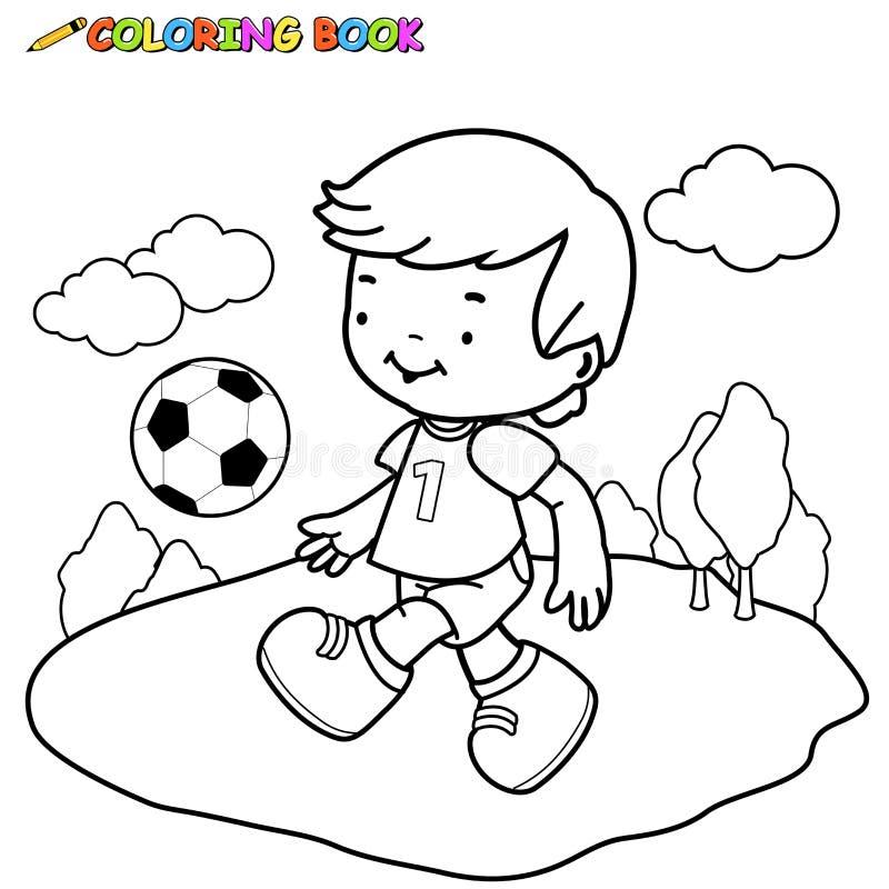 Unge för fotboll för färgläggningbok royaltyfri illustrationer