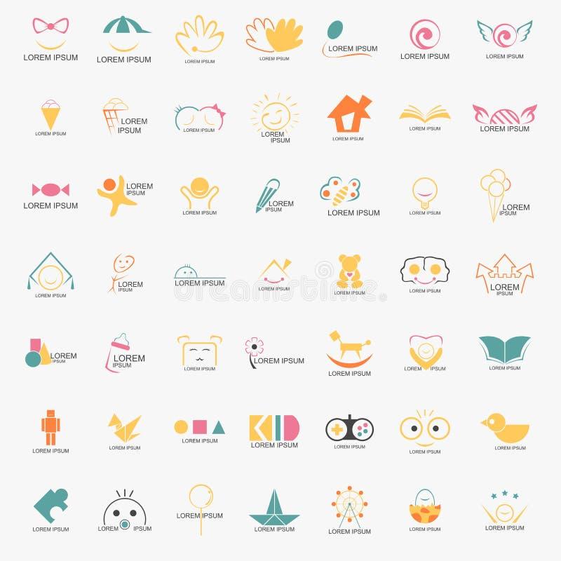Unge Logo Set vektor illustrationer