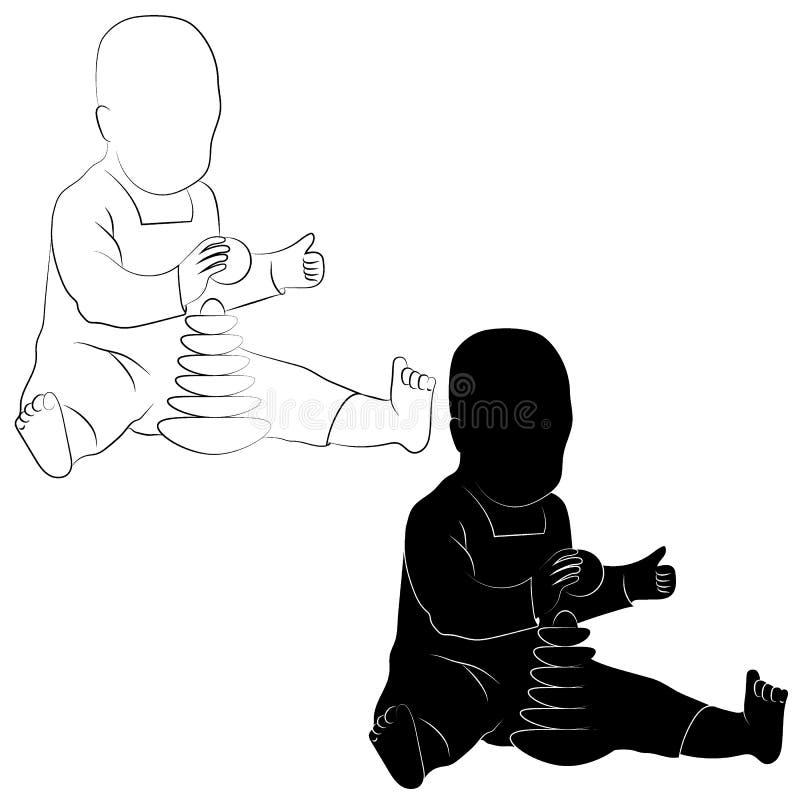 Unge med en leksak royaltyfri illustrationer