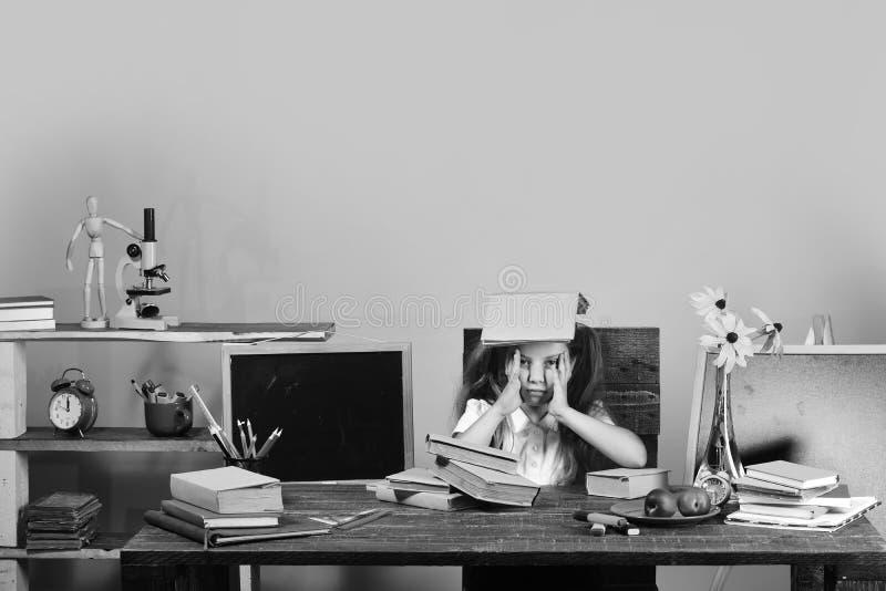 Unge- och skolatillförsel på gul väggbakgrund Läxa- och studietidbegrepp Flicka på skrivbordet med böcker royaltyfri foto