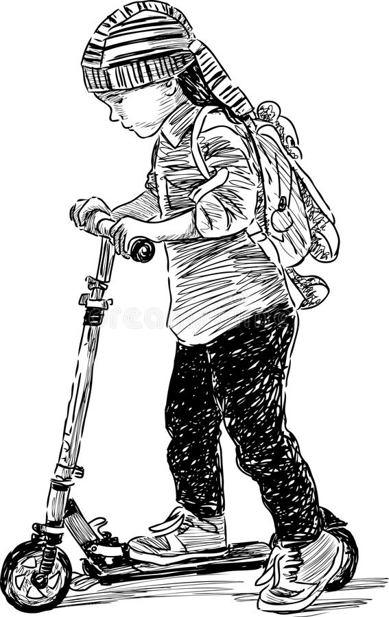 Unge på sparkcykeln vektor illustrationer