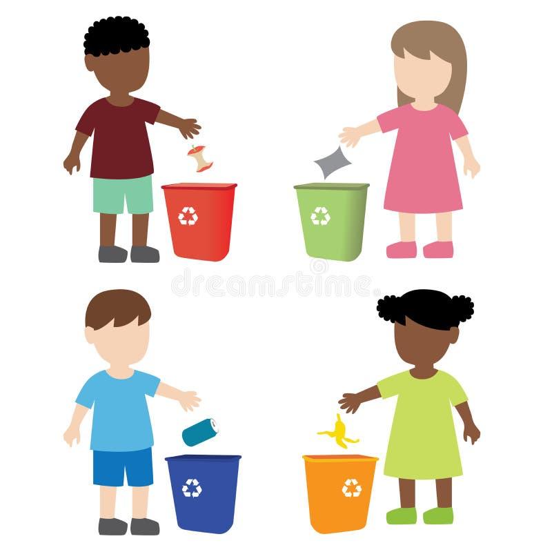 Unge som kastar avskräde i avfallfacket stock illustrationer