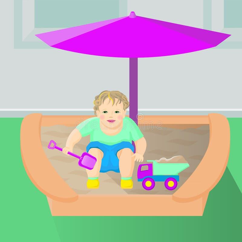 Unge som spelar i sandlådan med en leksakbil stock illustrationer