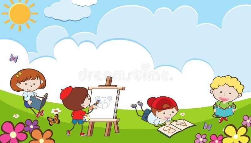 Unge som spelar i trädgård på Sunny Day royaltyfri illustrationer