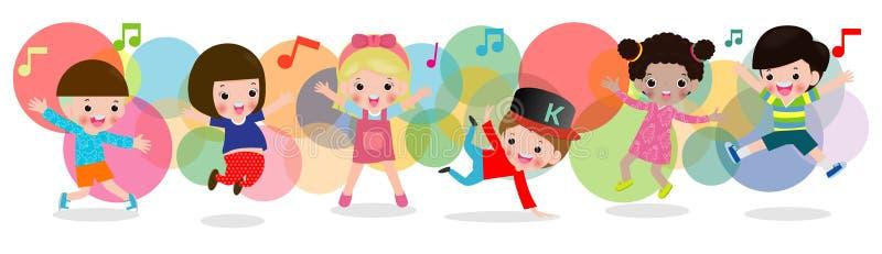 Unge som tillsammans dansar, barn som dansar avbrottsdans pojkar och flickadansare, lyckligt blandras- barn som hoppar på färgrik vektor illustrationer