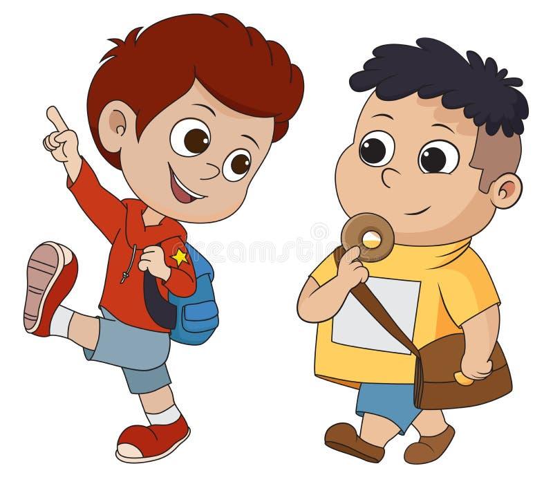 Unge som vaknar till skolan tillbaka skola till stock illustrationer