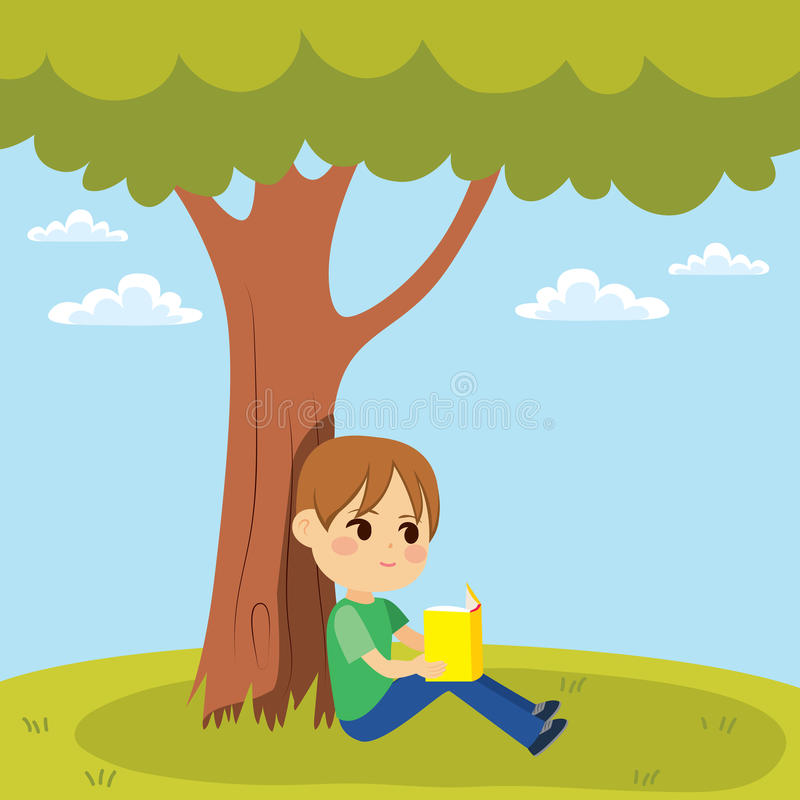 Ungeavläsning under tree royaltyfri illustrationer