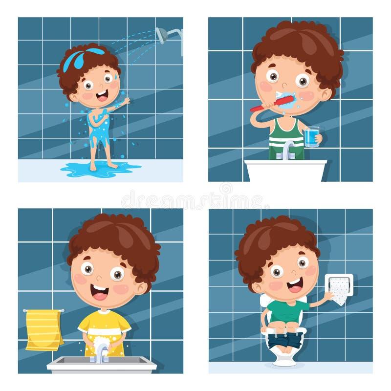 Ungebadning och att borsta tänder, tvättande händer efter toalett royaltyfri illustrationer